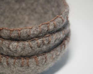 Gray Felted Nesting Bowls with Blanket Stitches