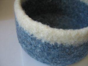 Felted Bowl - White & Blue