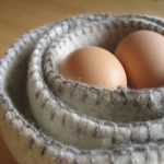Nesting Felted Bowls with Blanket Stitches - Beige