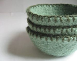 Green Felted Nesting Bowls with Blanket Stitches