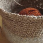 Felted Bowl with Crochet Edge - Beige