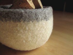 Felted Bowl - Gray & White