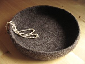 Large Felted Bowl - Brown