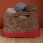 Crochet & Sweater Recycle Tote - Brown
